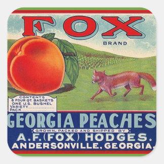 Vintage das etiquetas que anuncia pêssegos do Fox Adesivo Quadrado