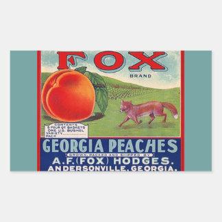 Vintage das etiquetas que anuncia pêssegos do Fox Adesivo Retangular