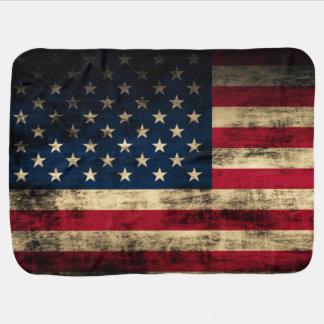 Vintage do Grunge que olha a bandeira americana Cobertores De Bebe