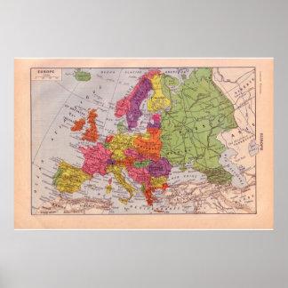 Vintage Europa 1920 histórica Poster