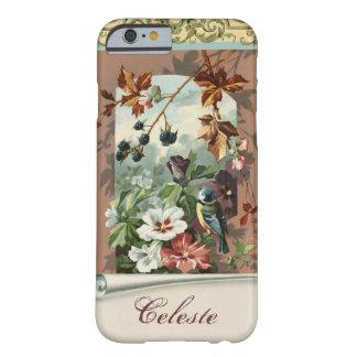 Vintage floral com o pássaro azul personalizado capa barely there para iPhone 6