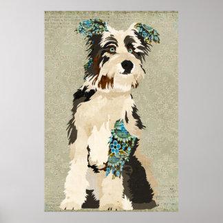 Vintage Floral Dog  Art Poster