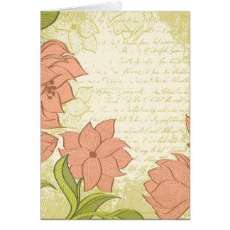 Vintage floral e texto do vintage - personalize!! cartão comemorativo