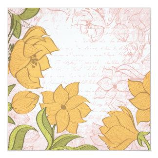 Vintage floral e texto do vintage - personalize!! convite quadrado 13.35 x 13.35cm