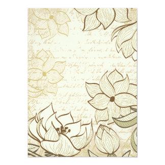 Vintage floral e texto do vintage - personalize!! convite 13.97 x 19.05cm
