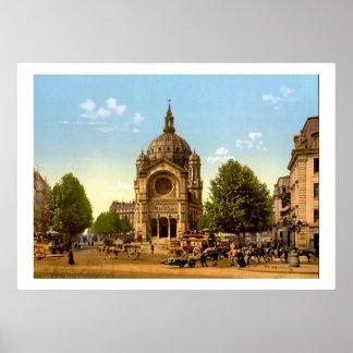 Vintage France, igreja de St Augustine Paris Poster