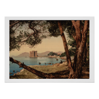 Vintage France, ilha do Santo-Honorat, Cannes Poster