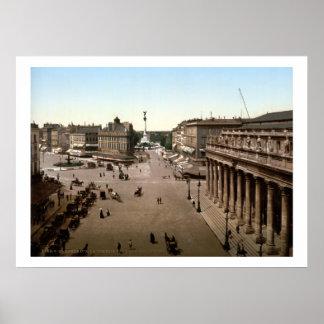 Vintage France, La Comedie & rua Juliet, Bordéus Poster