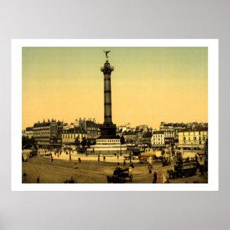 Vintage France, Lugar de la Bastille, Paris Poster