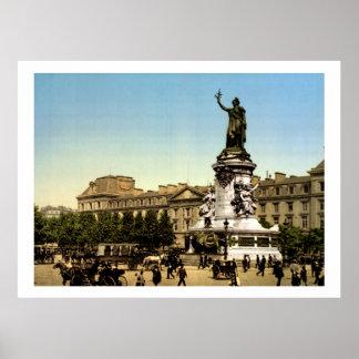 Vintage France, Lugar de la République Paris Poster