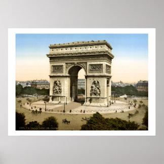 Vintage France, monumento Paris de Arco do Triunfo