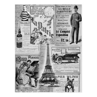 Vintage francês Eiffel Cartoes Postais