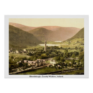 Vintage Ireland, Glendalough do século XIX Wicklow Poster