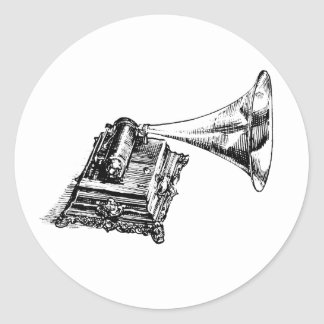 Vintage Lineart do gramofone Adesivo
