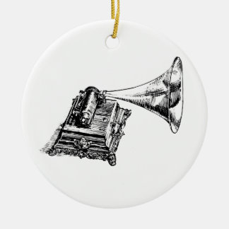 Vintage Lineart do gramofone Ornamento De Cerâmica Redondo