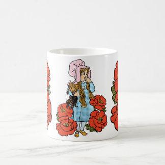 Vintage mágico de Oz, Dorothy, flores vermelhas da Caneca De Café
