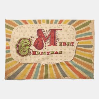 Vintage Merry Christmas Kitchen Towel Toalhas De Mão