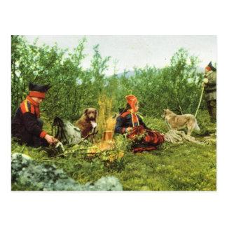 Vintage Noruega, Lapland, lareira da família de Sa Cartão Postal