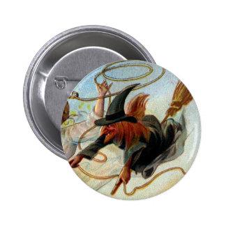 Vintage o Dia das Bruxas da caça do solteiro Bóton Redondo 5.08cm