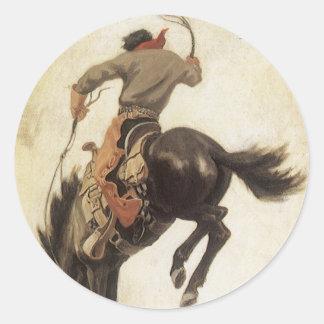 Vintage ocidental, vaqueiro em um cavalo Bucking Adesivo