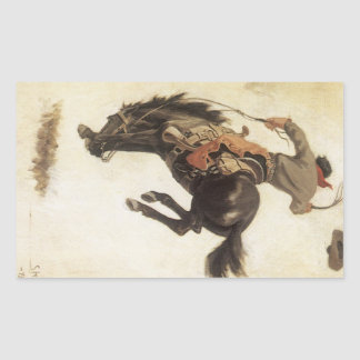 Vintage ocidental, vaqueiro em um cavalo Bucking Adesivo Retangular