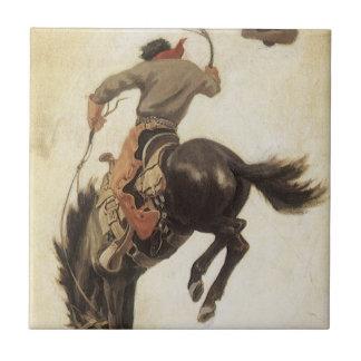 Vintage ocidental, vaqueiro em um cavalo Bucking Azulejo Quadrado Pequeno
