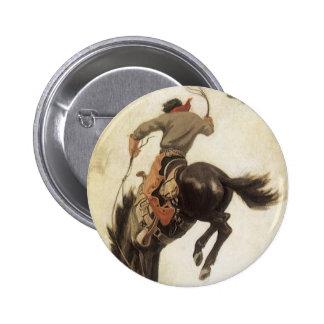 Vintage ocidental, vaqueiro em um cavalo Bucking Bóton Redondo 5.08cm