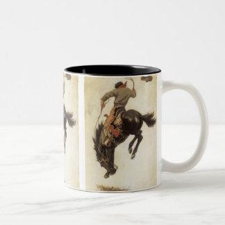 Vintage ocidental, vaqueiro em um cavalo Bucking Caneca De Café Em Dois Tons