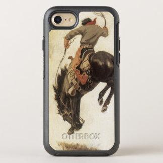 Vintage ocidental, vaqueiro em um cavalo Bucking Capa Para iPhone 7 OtterBox Symmetry