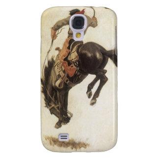 Vintage ocidental, vaqueiro em um cavalo Bucking Capa Samsung Galaxy S4