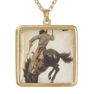 Vintage ocidental, vaqueiro em um cavalo Bucking Colar Com Pendente Quadrado