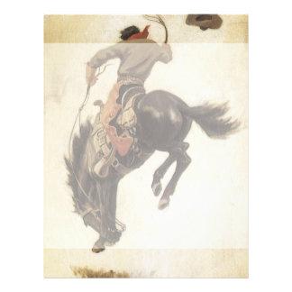 Vintage ocidental, vaqueiro em um cavalo Bucking Flyer 21.59 X 27.94cm
