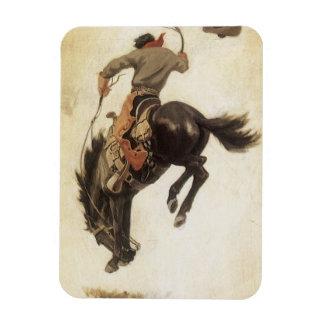 Vintage ocidental, vaqueiro em um cavalo Bucking Foto Com Ímã Retangular