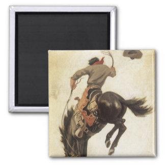 Vintage ocidental, vaqueiro em um cavalo Bucking Ímã Quadrado