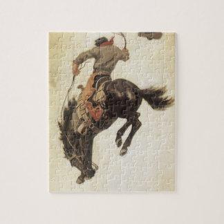Vintage ocidental, vaqueiro em um cavalo Bucking Quebra-cabeça