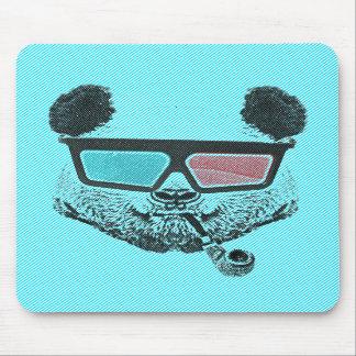Vintage panda 3-D glasses Mousepad