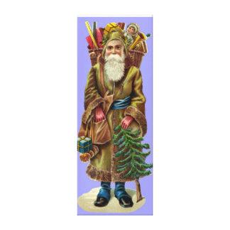 Vintage Papai Noel com canvas dos presentes Impressão Em Tela