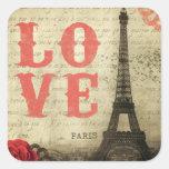 Vintage Paris Adesivos Quadrados