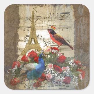 Vintage Paris & colagem da folha de música dos Adesivo Quadrado
