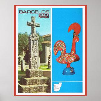 Vintage Postugal, poster de viagens, Barcelos,