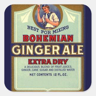Vintage que anuncia o misturador seco boémio do adesivo quadrado