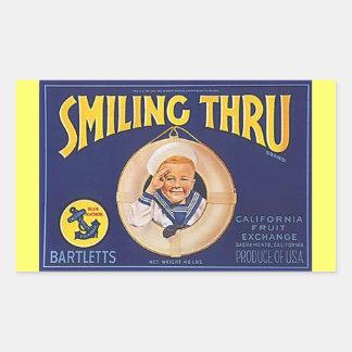 Vintage que anuncia saudações do marinheiro de adesivo retangular