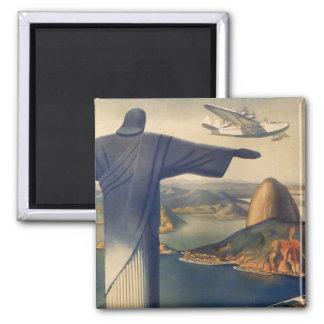 Vintage Rio de Janeiro, cristo a estátua do Ímã Quadrado