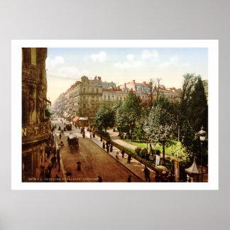 Vintage rua de France, Alsácia-Lorena, Toulouse Poster