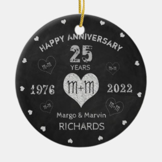Vintage rústico do aniversário de casamento ornamento de cerâmica redondo