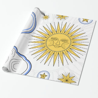 Vintage Sun e lua Papel De Presente
