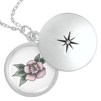 vintage tradicional do rosa do rosa colar medalhão