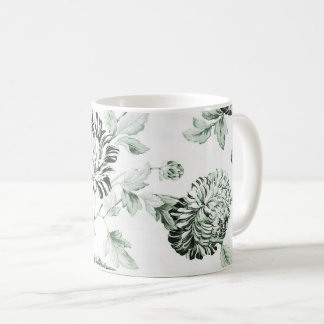 Vintage verde & branco Toile floral No.2 da espuma Caneca De Café