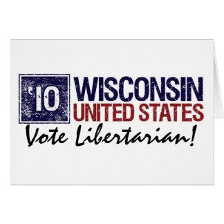 Vintage Wisconsin do libertário do voto em 2010 - Cartão Comemorativo