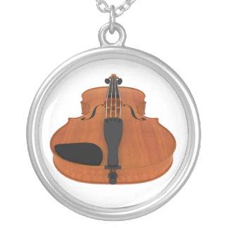 Violino com revestimento de madeira tradicional: colar banhado a prata
